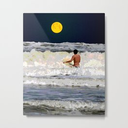 Moonlight Surf Metal Print