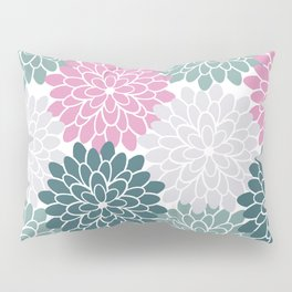 Petal in Rose, Cyan and Milky Grey Pillow Sham