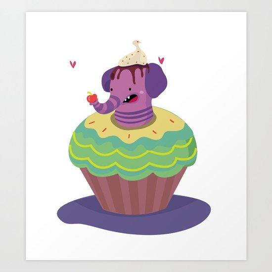 Elephant cupcake Art Print