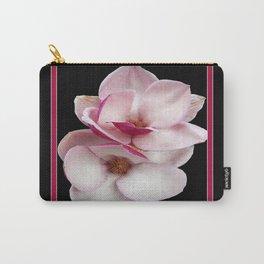 tulip magnolia twins (black bg square) Carry-All Pouch
