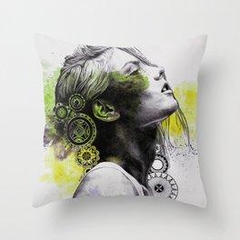 Burnt By The Sun (street art woman portrait with mandalas) Throw Pillow