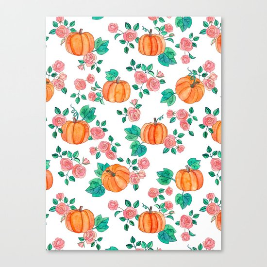 Pumpkins and Roses Canvas Print