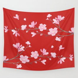 Cherry Blossom - Red Wall Tapestry