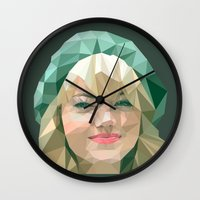 emma stone Wall Clocks featuring Emma Stone by You Xiang