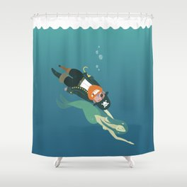 One-armed one-legged one-eyed pirate and mermaid Shower Curtain
