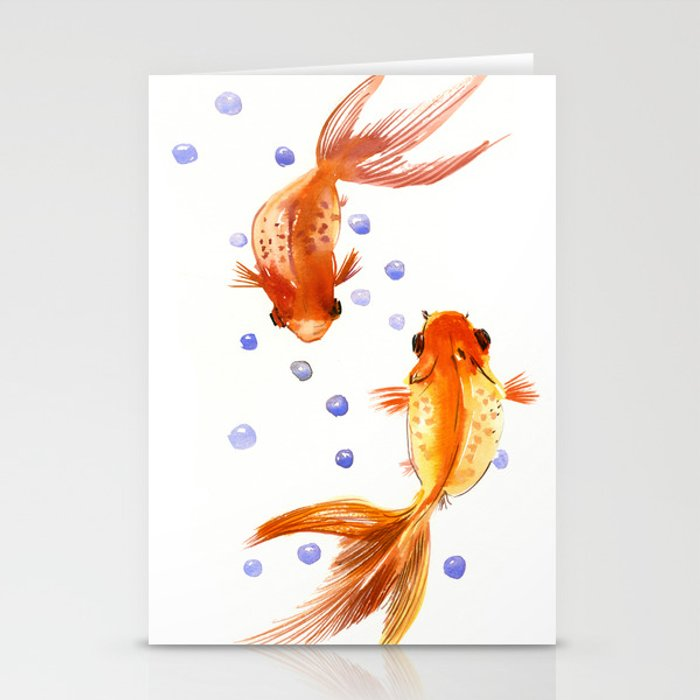 Goldfish, two fish, Koi Asian Style watercolor art, feng shui Stationery Cards