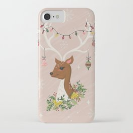 Christmas Deer in Blush Pink iPhone Case