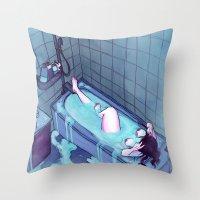 bath Throw Pillows featuring Bath  by BrimRun