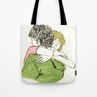 les mis Tote Bags featuring ExR Hug les mis by Pruoviare