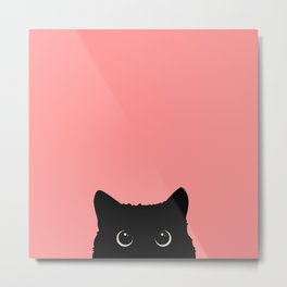Sneaky black cat Metal Print