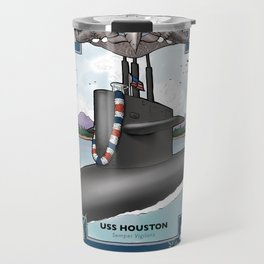 USS Houston - Pearl Harbor Submarine Service (Silver Dolphins) Travel Mug