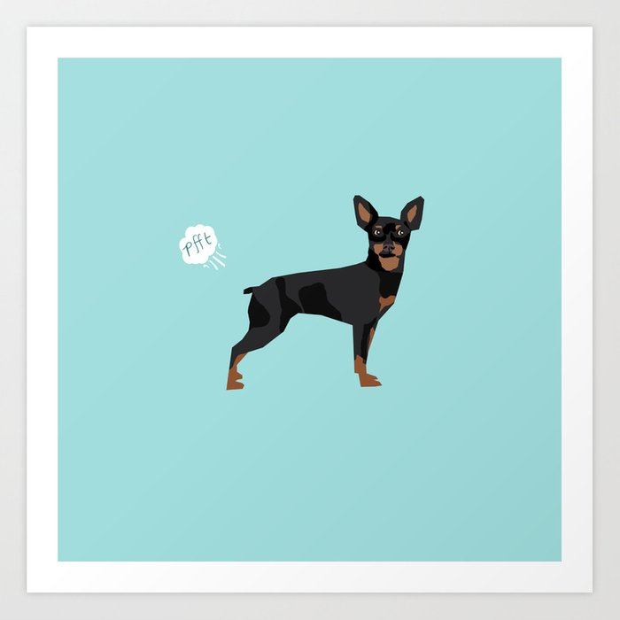 531f64d4d243d min pin miniature doberman pinscher farting dog cute funny dog gifts pure  breed dogs Art Print