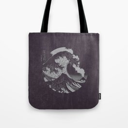 The Great Wave off Kanagawa Black and White Tote Bag