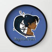 sagittarius Wall Clocks featuring Sagittarius  by Jo Sharp