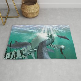 Mechanical fish and dolphins Rug