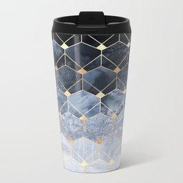 Blue Hexagons And Diamonds Metal Travel Mug
