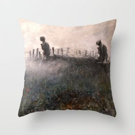 On the Wire War Landscape Painting by Harvey Thomas Dunn Throw Pillow