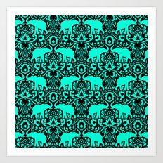 Elephant Damask Mint and Black Art Print