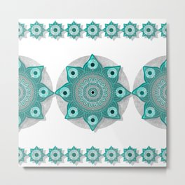 """Teal Flower Power ^_^"" Metal Print"