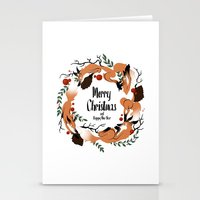 merry christmas Stationery Cards featuring Merry Christmas by Anya Volk