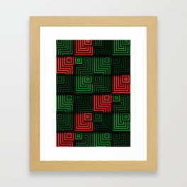 Red and green tiles with op art squares and corners Framed Art Print