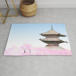 Temple and sakura Rug
