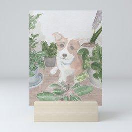 Plants and a Pup  Mini Art Print