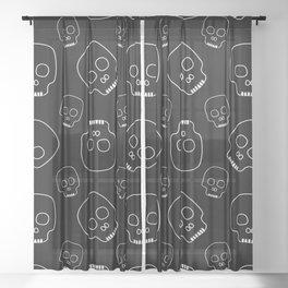 Skull pattern (black) Sheer Curtain