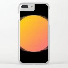 Orange Moon Black Sky Clear iPhone Case