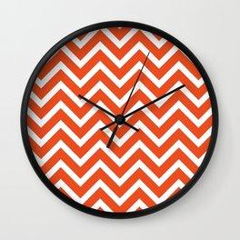 red, white zig zag pattern design Wall Clock