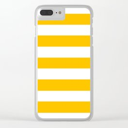 Amber - solid color - white stripes pattern Clear iPhone Case
