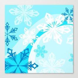 Blue Flower Art Winter Holiday Canvas Print