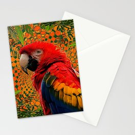 RED JUNGLE MACAW PATTERN ABSTRACT Stationery Cards