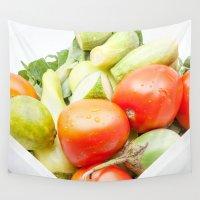 vegetables Wall Tapestries featuring vegetables by Marcel Derweduwen