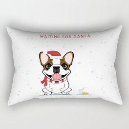 French Bulldog Waiting for Santa- Fawn Pied Edition Rectangular Pillow