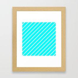 Diagonal Lines (White/Aqua Cyan) Framed Art Print