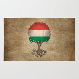Vintage Tree of Life with Flag of Hungary Rug