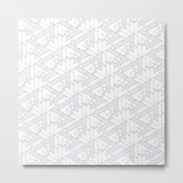 Triangle Optical Illusion Gray Lines  Metal Print
