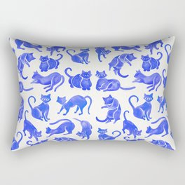 Cat Positions – Blue Palette Rectangular Pillow