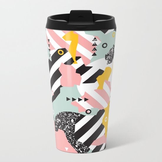 Spliced Geometric Memphis Pattern Geo Stripes Metal Travel Mug