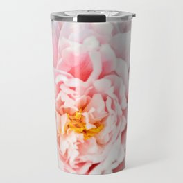 Peony Flower Photography, Pink Peony Floral Art Print Nursery Decor A happy life - Peonies 2 Travel Mug