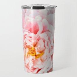 Peony Flower Photography, Pink Peony Floral Art Print Nursery Decor A happy life - Peonies 2 Travel Mug