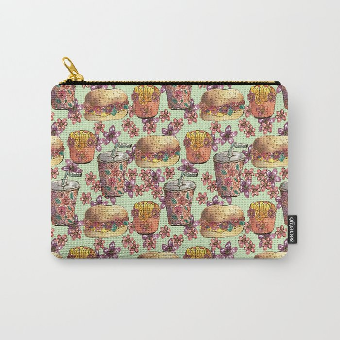 fast food floral pattern hamburguer fries soda spring Carry-All Pouch