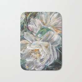 MEET ME AT FRONT YARD - While Camellia - Original floral painting by HSIN LIN / HSIN LIN ART Bath Mat