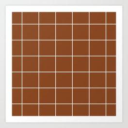White Grid - Brown BG Art Print