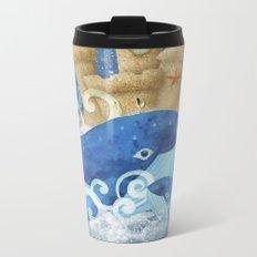 Sandcastle Waves Whales Metal Travel Mug