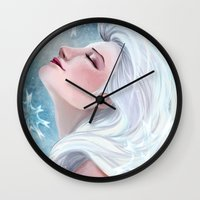 frozen elsa Wall Clocks featuring Elsa by Ines92