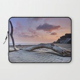 Half Moon Beach. Red sky Laptop Sleeve