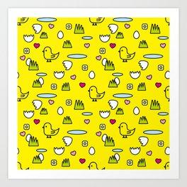 pattern yellow chick Art Print