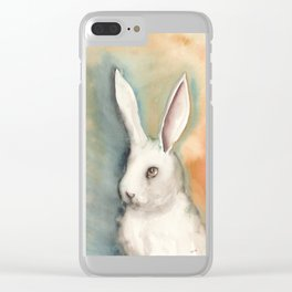 Portrait of a White Rabbit Clear iPhone Case
